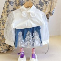 kids Clothing Sets girls outfits children lace sleeve shirt Tops+butterfly denim skirts 2pcs set summer Spring Autumn Boutique fashion baby clothes Z4356