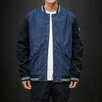 Veste de baseball O-Crasse à poitrine O-Cou Automne Denim Patchwork Design Youth Hommes Tops Coat 7705 TDA5