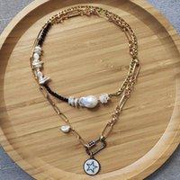 Anhänger Halsketten Mode Punk Gold-Farbkette Halskette Natürliche Süßwasser Perle Kreative Nähte Für Frauen Doppel Neck Zubehör 2021