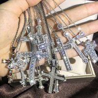 Мода Мужские Роскошные Крестовые Ожерелье Хип-Хоп Ювелирные Изделия Серебряные Белые Алмазные Джидчики Гемстонки Ледяные Ожерели Подвеска Женщины Ожерелья