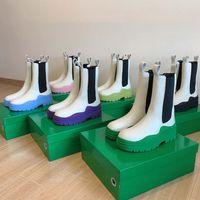 Hochwertige Designerstiefel Leder Martin Knöchel Chaelsea Boot Mode Rutschfeste Welle farbige Gummi-Außensohle Elastisches Gurtband Luxuskomfort Exquisite mit Kasten
