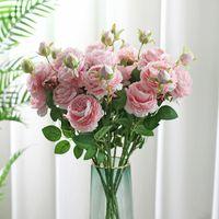 66 cm Gül Pembe Ipek Buket Şakayık Yapay Çiçekler 3 Kafaları Düğün Ev Dekorasyon Ofis Dekor Sevgililer Günü Ucuz