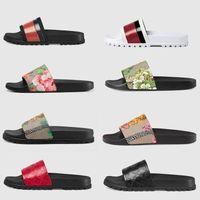 2021 Plattform Designer Gummi-Folien Sandale Blumenbrokat Mode Herrengetriebe Bottoms Flip Flops Hausschuhe Gestreifte Damen Sandalen Designer mit Box Müßiggänger