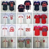 1939 1967 Retrour Baseball Vintage 26 Wade Boggs Jersey 9 Ted Williams 14 Jim Arroz Retire Costurado Azul Branco Vermelho Cinza Bege