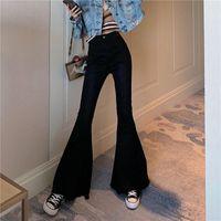 Women's Jeans Fashion Tassel Bell Bottom Blue Skinny Denim Pants Retro Trousers Female Streetwear Sexy Stretching High Waist Flare Women