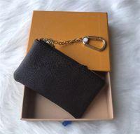 4 색 열쇠 파우치 데미어 가죽 고품질 패션 클래식 여성 키 홀더 코인 지갑 작은 가죽 키 지갑