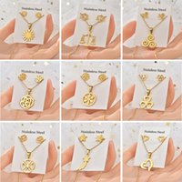 Stainless Steel Jewelry Set Rose Flowers Star Pendant Necklace Sets for Women Girls Titanium Gold Color Floral Stud Earrings Trendy