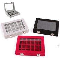 24 شبكة المخملية مجوهرات حلقة عرض المنظم مربع صينية حامل أقراط تخزين حالة عرض عرض تخزين مربع 24 مربع صناديق EWF5095