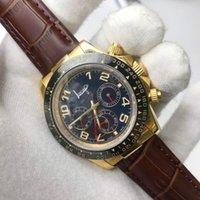 손목 시계 18K Gold Watch Day Automatic Tona 모든 서브 다이얼 작동 스테인레스 스틸 케이스 가죽 스트랩 품질