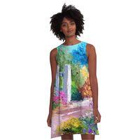 Dropshipping Damenkleid 3D-Druckweste Mode-Dame-Kleidungsöl-Malerei A Line-Rock wird auch als Pyjamas verwendet