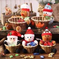 Merry Christmas Candy Rattan Basket Christmas Decorations Elk Snowman Santa Claus Fruit Baskets Food Holder Lovely Home Decor Sea way T9I001447