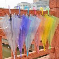 Paraguas transparente Clear PVC mango largo caramelo color paraguas para 8 huesos de lluvia cubierta sol protectora RRD11038