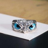 Pianura 18 S925 Gufo dell'occhio Gufo femminile Argento Esagerato Design Bird Ring Regalo Fashion Party con scatola