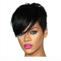 Krótkie Pixie Peruki Dla Czarnych Kobiet Bezklejowy Brazylijski Dziewiczy Bob Fryzury Pixie Cut Ludzki Włosy Wig Brak Lacefront Capless Wig