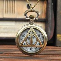 10pcs Large bronze triangle pocket watch Vintage hollow Harry Potter pocket watch manufacturer wholesale