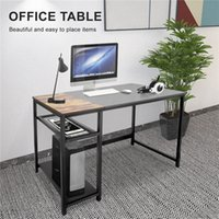 US Almacén local 2021 Nuevo Moderno Negro Minimalista Estilo Inicio Oficina de oficina Computadora de oficina con 2 racks de almacenamiento LS513242381-01