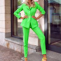 Women Suits Women Blazer Suit Trousers Two Piece Suit Fashion Temperament Business Commuter Wear Solid Color Small Jacket Suit 2Pcs