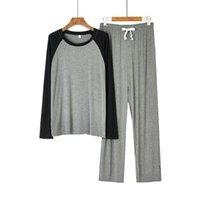 Männer Nachtwäsche Männer Modal Pyjamas Set Schwarz-grau Patchwork 2 stücke Herbstschlaf Männlich Weiche Lose Hemdhosen Home Wear