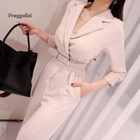Fengguilai cintura sólida cinto encaixado jumpsuit saindo elegante escritório senhora manga longa mulheres playpsuits y0311