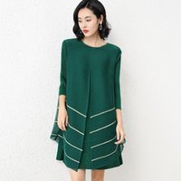 Casual Dresses Miyake Pleated Mesh Striped Diamond Dress Mid-skirt 2021 Autumn Loose Three-quarter Sleeves Thin A-line For Woman