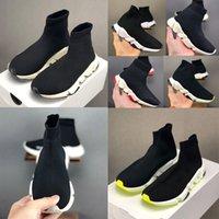 أعلى جودة باريس كيد جورب أحذية رياضية سرعة صبي فتاة العدائين المدربين متماسكة الجوارب الثلاثي s أحذية عداء كيس أحذية الحجم