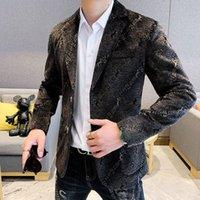 Men's Jackets Korean Style Slim Tuxedo Wedding Men Dinner Social Club Letter Blazer Masculino Velvet Smoking Hombre