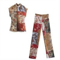 Zwei Stück Set Semi WomenSpant Sheer Patchwork Shirt Bluse Amp Wide Bein Hose Chic Lady Mode Frau Gemütliche Outfits