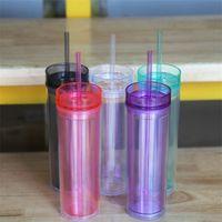 16 oz saydam çift katmanlı kupa saman ile yaratıcı sevimli su bardaklar yeni spor su şişesi mühürlü sızdırmaz plastik fincan zc063