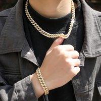Men Hip Hop Necklace Bracelet 16 18 20 22 24inch Cubic Zirconia Stone Necklaces Cuban Chain Men's 7 8 inch Bracelets Male 14K Gold Plating HipHop Bling Bling 12mm Chains
