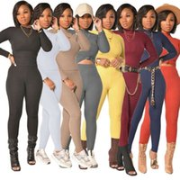 Women Solid Ribbed Knitted Elastic Hight Hot Skinny Matching Sets Long Sleeve Tops and Pencil Legging Female Sexy Two Piece Set Casual