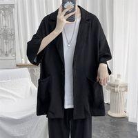 2020 Summer Men's Fashion Seven-sleeve Shirt Suit Collar Coats Camisa Masculina Streetwear Clothes Hawaiian Big Size M-5XL