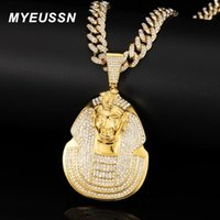 Pendant Necklaces Hip Hop Huge Pharaoh Head Necklace Men Iced Out Bling Cuban Chain Gold Color Pendants Jewelry Gift