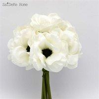 9 teile / los Seide Schöne Weiße Anemon Künstliche Blumen Blumenstrauß Haus Möblierung Dekorative Simulation P0831