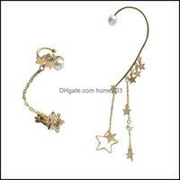 JewelryFashion Ear Polsino con temperamento asimmetrico Beautif Donne Orecchini Polsini per orecchini Stars Tassel Orecchini perla Goccia Consegna 2021 N2eld