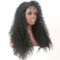الأزياء الساخنة الطبيعية الناعمة السوداء مجعد متموجة طويلة الباروكات رخيصة مع شعر الطفل مقاومة للحرارة غلويليس الاصطناعية الدانتيل الجبهة الباروكات للنساء السود