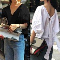 Frauen Blusen Hemden Celmia Vintage Bluse Sexy V-Ausschnitt Rückenfug Halbe Hülse Beiläufige Lose Solid Blusas Femininas Grundlegende Tunika Tops