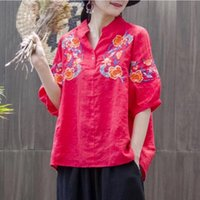 Women's Blouses & Shirts Plus Size Women Tops And 2021 Casual Loose Embroidered Blouse For Female White Cotton Linen Puff Sleeve