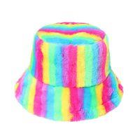 New warm basin hat imitates rabbit hair net red tide women's colorful rainbow striped fisherman's Hat Winter 2021