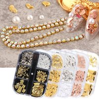 6 Grids Nail Art 3D Metal Accessories Rose Gold Silver Bead Stone Pearl Claw Drill Rhinestone Chain Charms Decoration