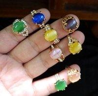 Wunderschöne eingelegte Kristall Edelstein Wassertropfen Sieben Farbe Opal Ring Mix Stil Multi Design Personalisierte Frauen Schmuck 30 teile / los