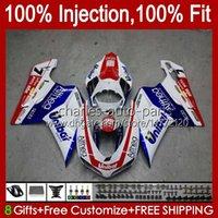 Injection Bodys For DUCATI 1198R 848 1098 1198 S R 2007 2008 2009 2010 2011 2012 18No.59 Bodywork 848S 1098S 1198S Red blue white 848R 1098R 07 08 09 10 11 12 OEM Fairing Kit