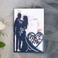 1 unid de muestra de novia y novio corte láser invitaciones de boda tarjeta amor corazón tarjeta de felicitación día de tarjeta del día de San Valentín decoración de fiesta