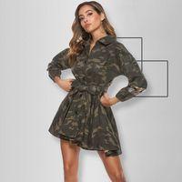 Camouflage Pailmined Bret Bist and Flare Dress per le donne abbassarsi con colletto a mezza manica abiti a pieghe aderenti dell'esercito Vestidos