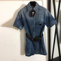 Lüks Denim Kadınlar Tulumlar Moda Üçgen Rozet Tasarımcısı Lady Tulum Trendy Bel Çantası Süs Tulum