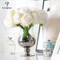Fiori di nozze peonie finte bouquet artificiali bouquet bianco peonia boquet da sposa boquet casa decorazione del partito 5 teste di seta floreale