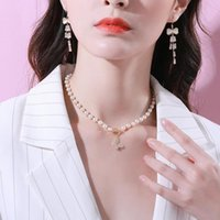 Chokers Natural Freshwater Pearl Clavicle Choker Necklace Baroque Butterfly Jewelry For Women Wedding Light Luxury Texture Gift