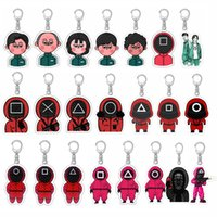 Party Favor Squid Game Original Keychain for Car Keys Round Six Keyring Bags Backpacks Accessories Acrylic Women Jewelry Men Gift Wholesale