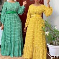 Ethnic Clothing MD Women Dr African Print Polka Dot Chiffon Dres 2021 Spring Summer Fashion Maxi Abaya Kaftan Elegant Evening Robe Outfits