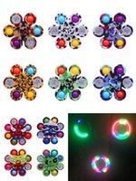 LED Aydınlık Kravat Boya Graffiti Gyro Basit Dimple Oyuncaklar Artı 6-8 Taraf Parmak Oyunu Oyunu Anti Stres Spinner Renkli Döner Toptan