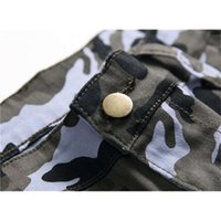 Mens Jeans Fashion Pants Camouflage Overalls Pocket Design Stretch Trousers Motorcycle Washed Denim Long Pencil